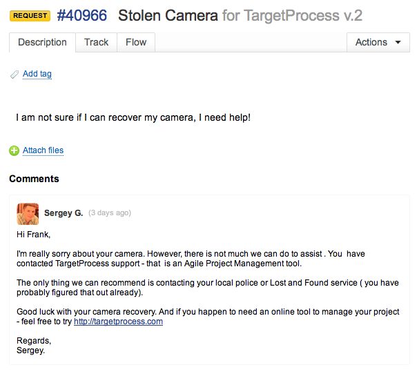 TargetProcess Support Case
