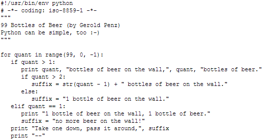 99 bottles of beer in Python
