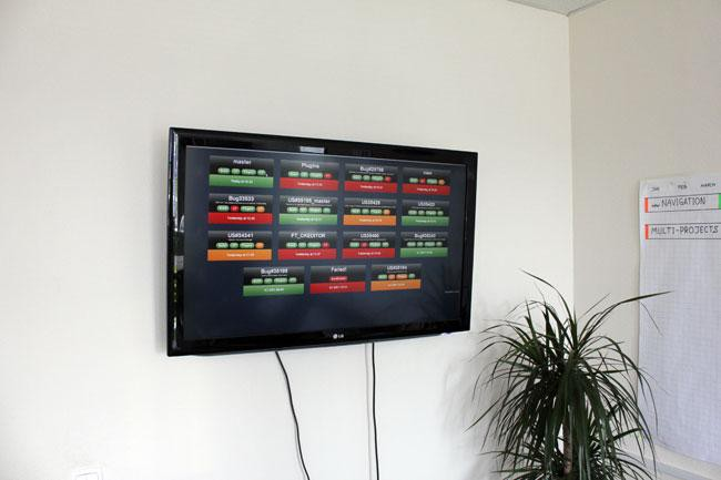 a screen with production builds in Targetprocess office