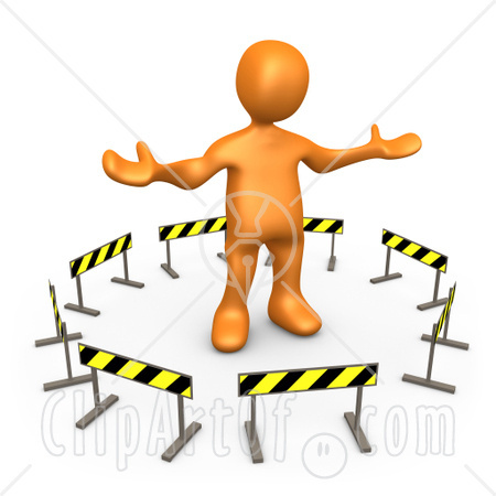 15527-orange-person-stuck-in-the-middle-of-a-circle-of-caution-signs-clipart-illustration-image