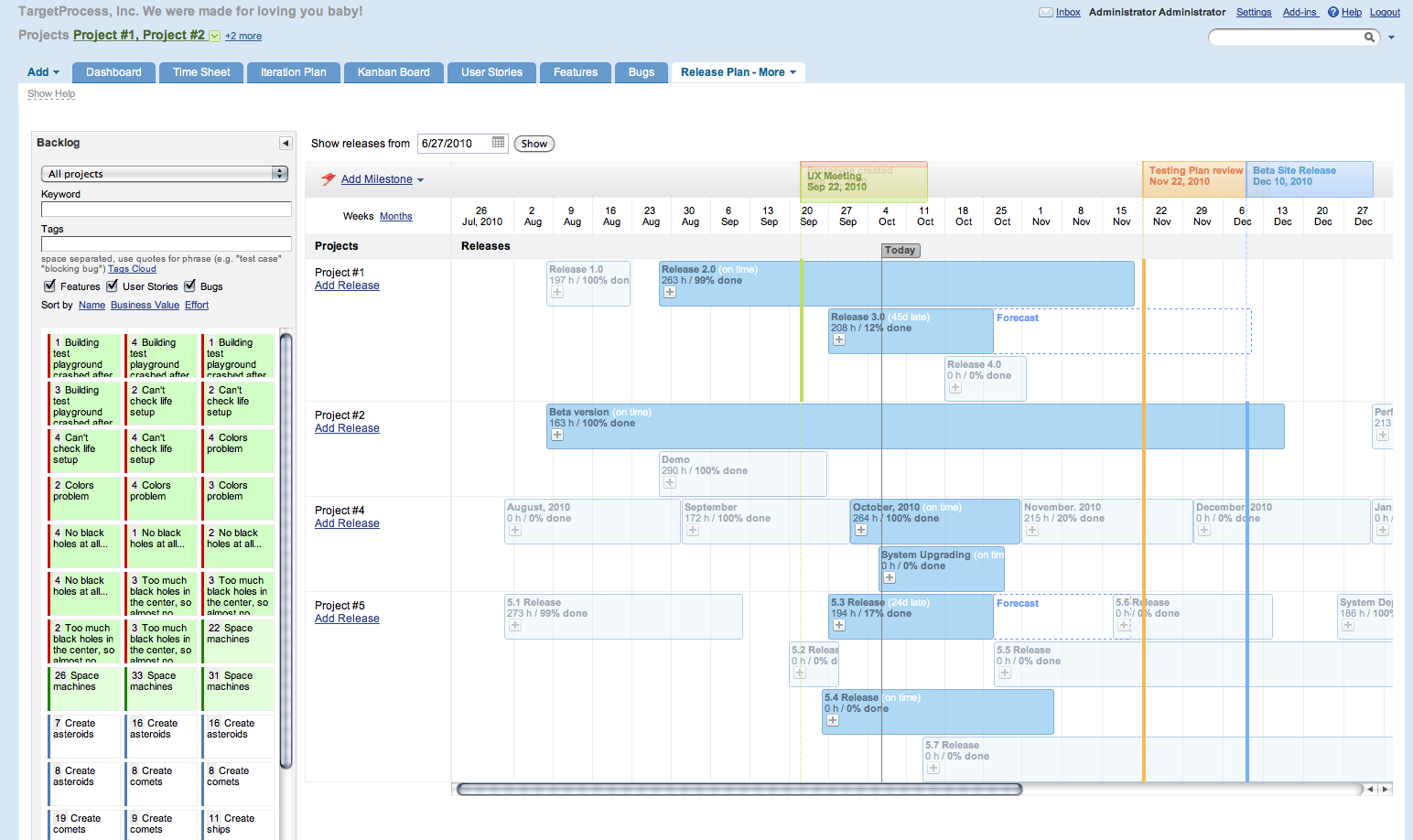 TargetProcess v 2207 Released – Release Planning Template