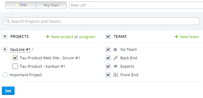 Wrong Project / Team selection