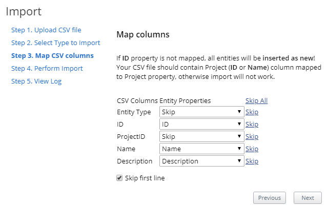 How to import entities from a CSV file. Image 3
