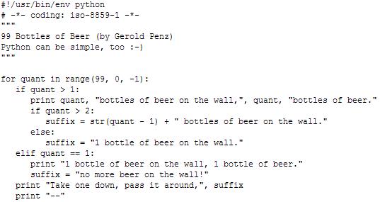 99 Bottles Of Beer In Python
