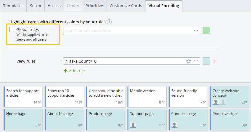 Global visual encoding rules