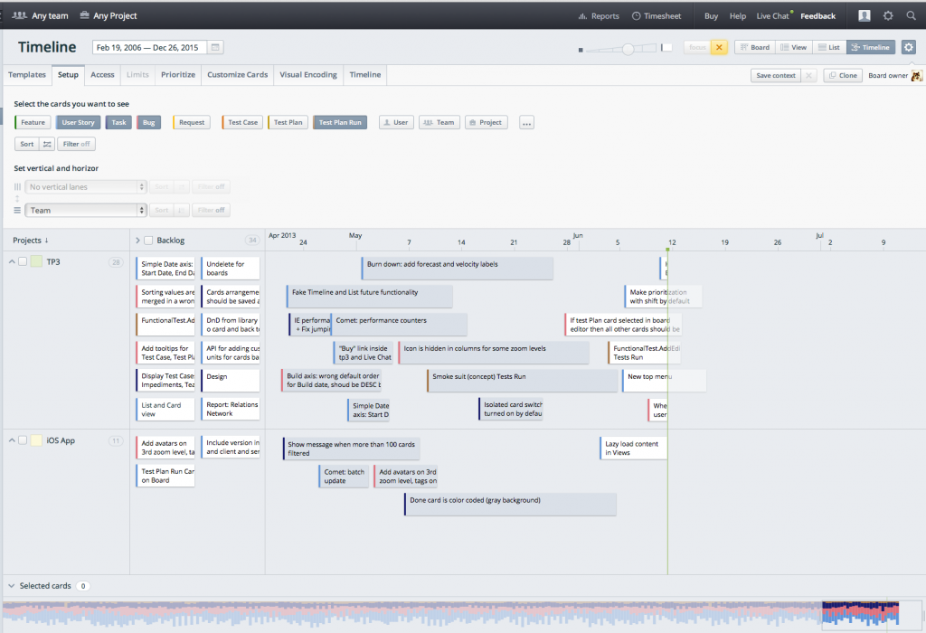 Timelines design in Targetprocess 3.