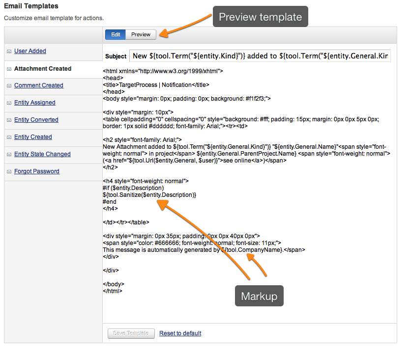 How To Change An Email Notification Template Targetprocess - Email table template