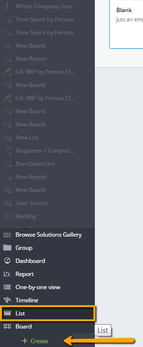 Create Project Backlog list view from Template