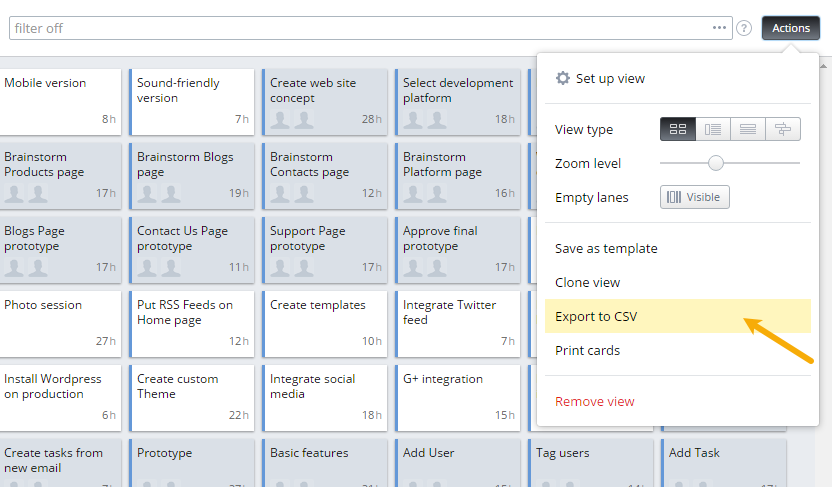 How to export data into a CSV file | Targetprocess - Visual