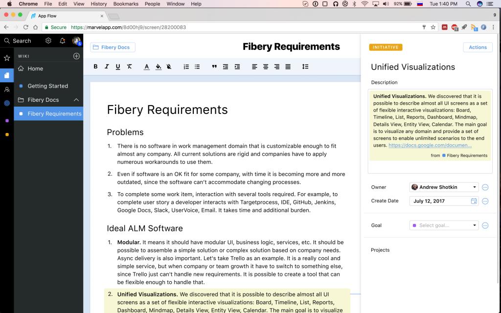 Fibery Wiki app