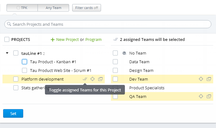 Projects-Teams selector: highlight and select Teams assigned to a Project, and vice versa