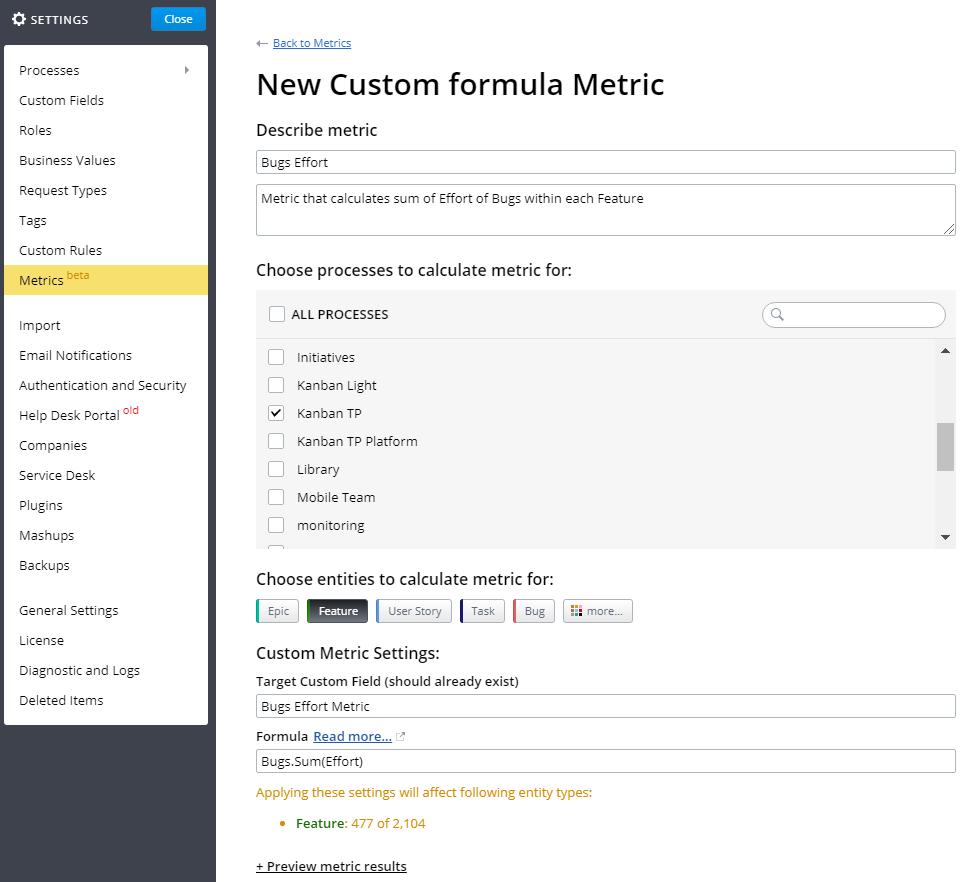 Custom Calculations and Formula Expressions | Targetprocess