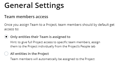 Simplified Team/Project assignments. Image 2