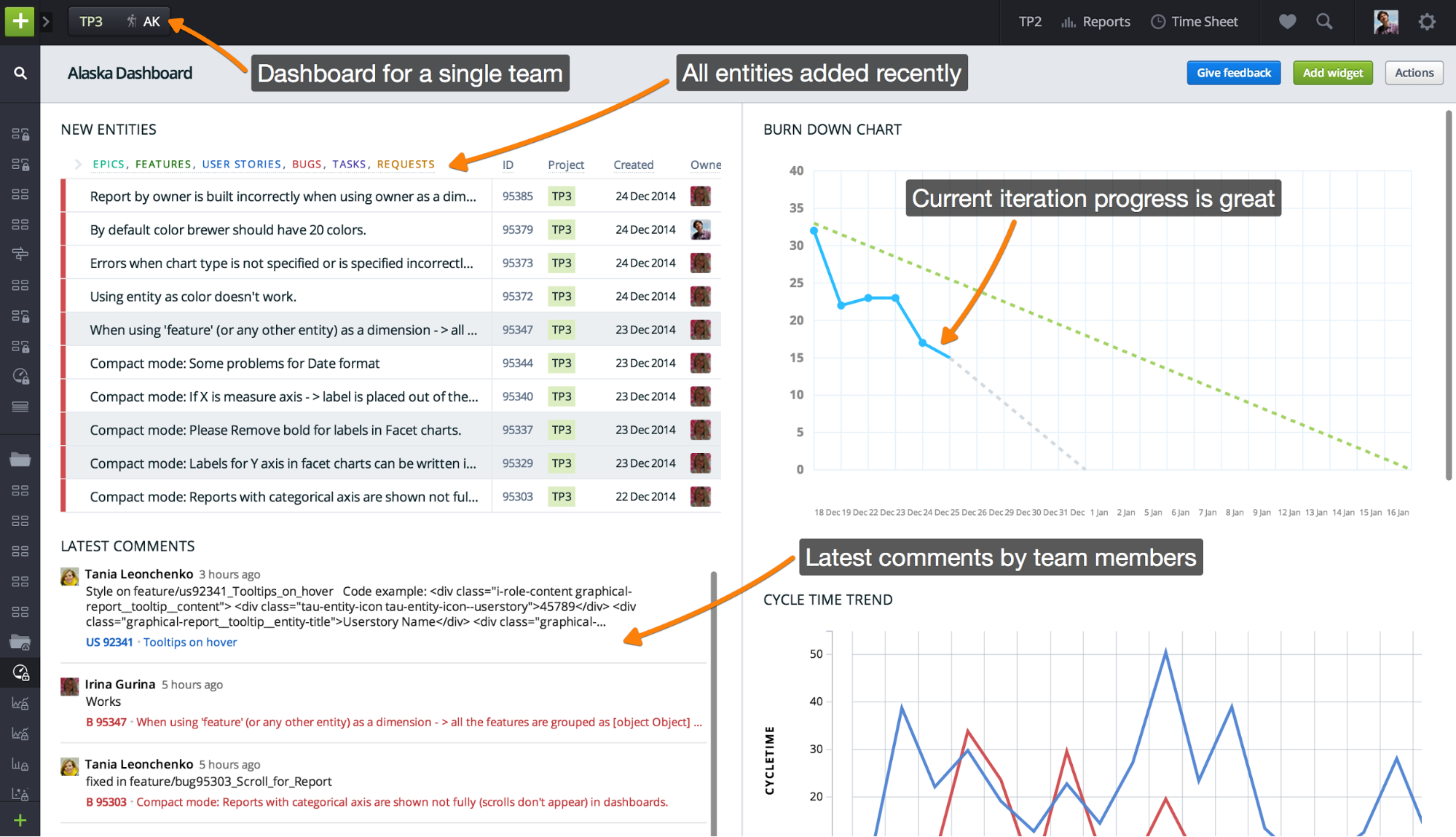 Use Cases And Examples Of Dashboard Configuration Targetprocess - Qa dashboard template
