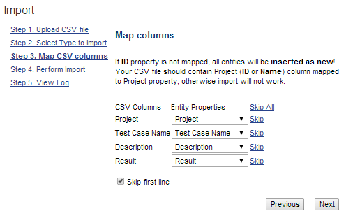 Test Steps CSV file columns mapping